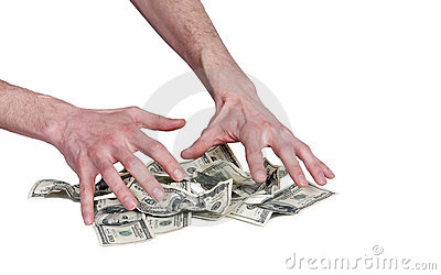 Human hands and dollars money