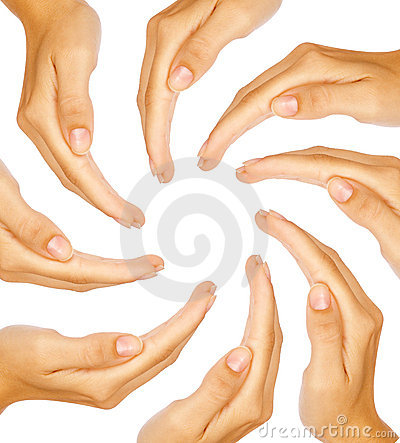 Human hands forming a circle with copy-space