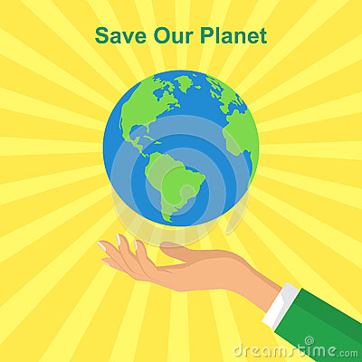 Human hands holding floating globe.Save the planet consept. Flat Vector Illustration