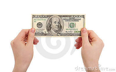 Human hands  holding money dollars, 100