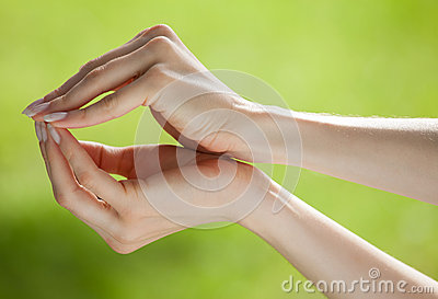 Human hands holding something