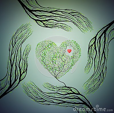Human hands look like tree branches and hold tree heart, love nature concept, protect tree idea, Vector Illustration