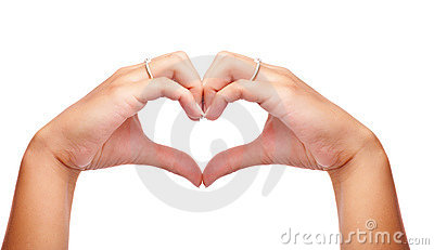 Human hands made in the form of heart