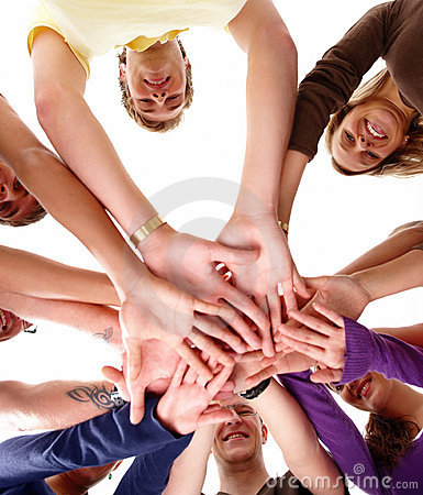 Human hands together showing unity