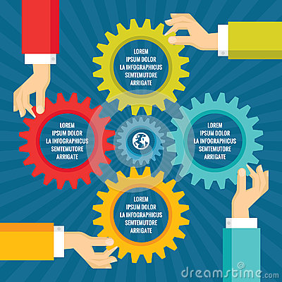 Free Human Hands With Colored Gears - Infographic Business Concept - Vector Concept Illustration In Flat Style Design. Royalty Free Stock Photo - 63520975
