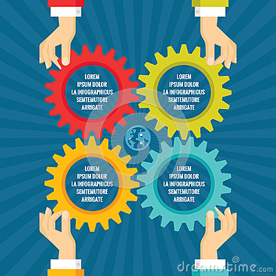 Free Human Hands With Colored Gears - Infographic Business Concept - Vector Concept Illustration In Flat Style Design. Stock Image - 63521031