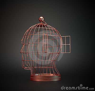 Free Human Head Bird Cage Royalty Free Stock Photo - 24076155