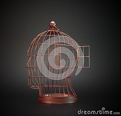 Human head bird cage