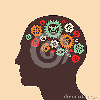 Human head and brain process - vector concept illustration in flat design style for business presentation, brochure, web site and Vector Illustration