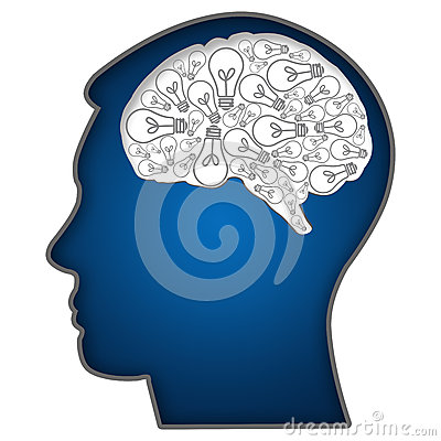 Human Head with Bulbs In Brain