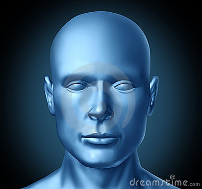 Human head frontal view