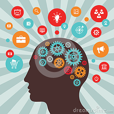 Human head and icons - vector concept illustration in flat style design. Creative idea inspiration layout. Brain abstract process Vector Illustration