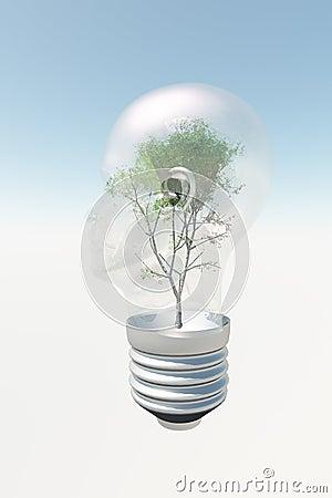 Human head light bulb with tree