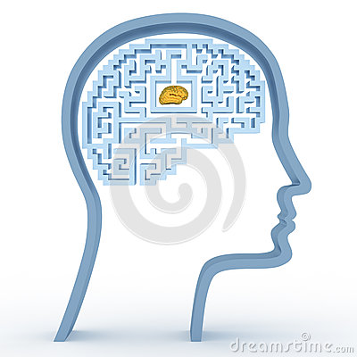 Human head with a maze and brain