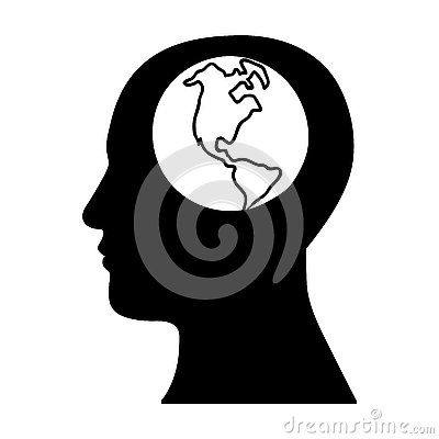 Human head with planet earth icon image Vector Illustration