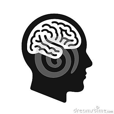 Human head profile with brain symbol, black icon vector illustration Vector Illustration