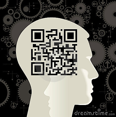 human head with the QR-Code