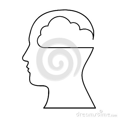 Human head silhouette with cloud icon image Vector Illustration