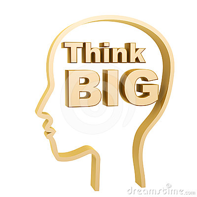 Human head and think big symbol