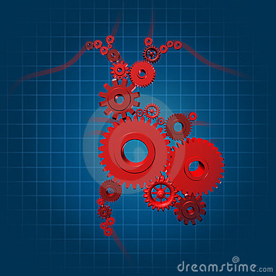 Human heart function valves gears medical symbol