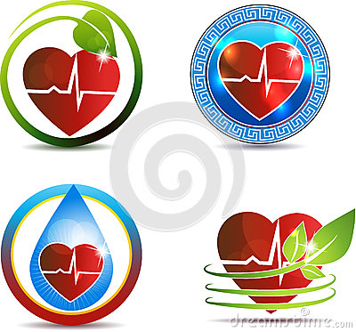 Human heart medical symbols set