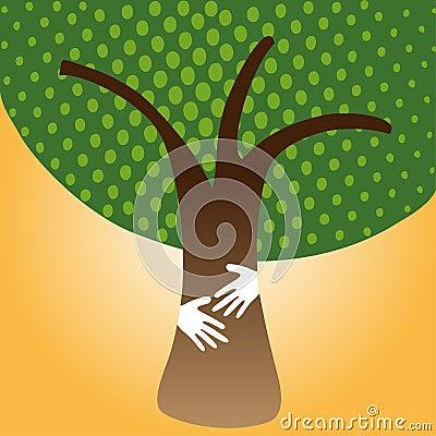 Human Hug tree for nature