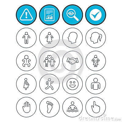 Human icons. Toddler and pregnant woman. Vector Illustration