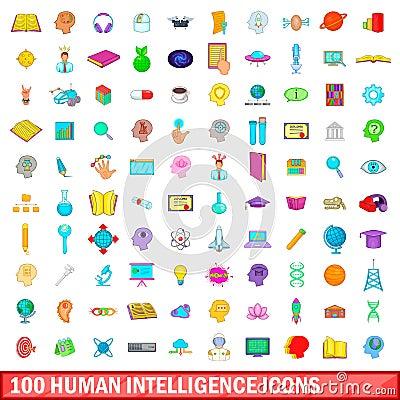 100 human intelligence icons set, cartoon style Vector Illustration