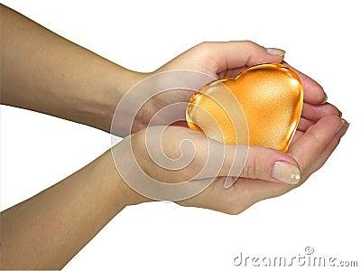 Human lady hands holding golden heart