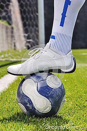 Human leg and soccer ball