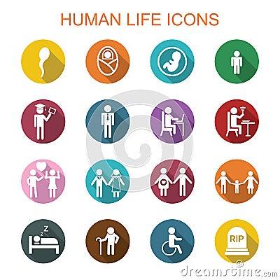 Free Human Life Long Shadow Icons Royalty Free Stock Image - 55210356