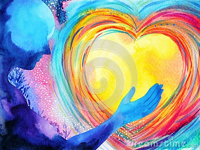 Human and love spirit powerful energy connect to the universe power Cartoon Illustration