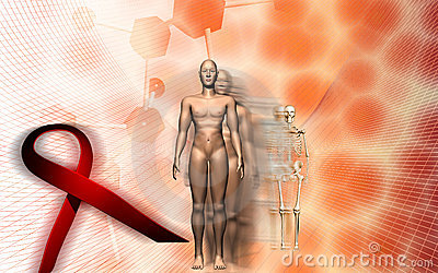 Human male body and HIV ribbon