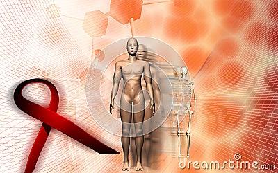 Human male body and HIV ribbon