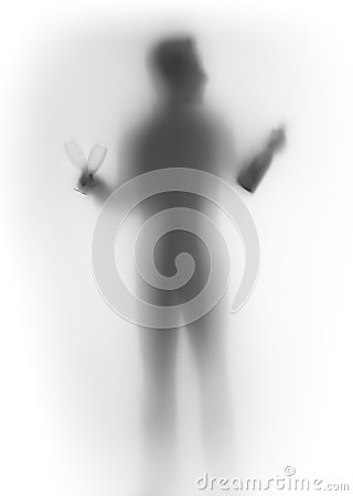Human male body silhouette, with bottle and glasses