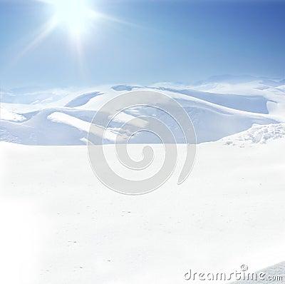 Human on mountain, winter, snow
