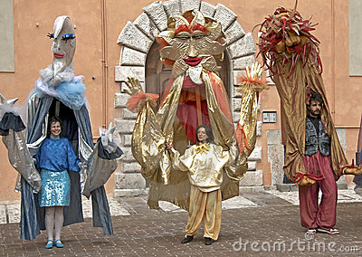 Human Puppets Performing at a Street Festival, Italy Editorial Photo