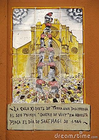 Human pyramid (Castell) - painting