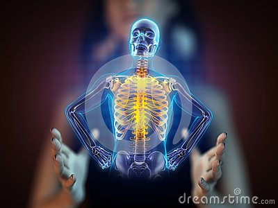 Human radiography scan on hologram