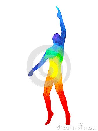 Free Human Raise Hand Up Power Energy Pose, Abstract Rainbow Body Stock Photography - 112966192