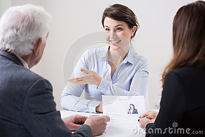 Human resources team during job interview Stock Photo