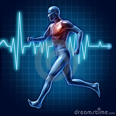 Human running cardiovascular health medical symbol