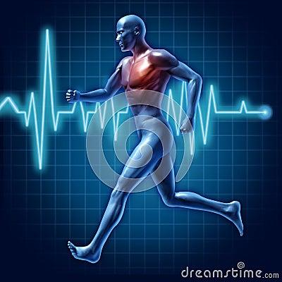 Human running cardiovascular health medical symbol