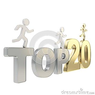 Human running symbolic figures over the words Top Twenty