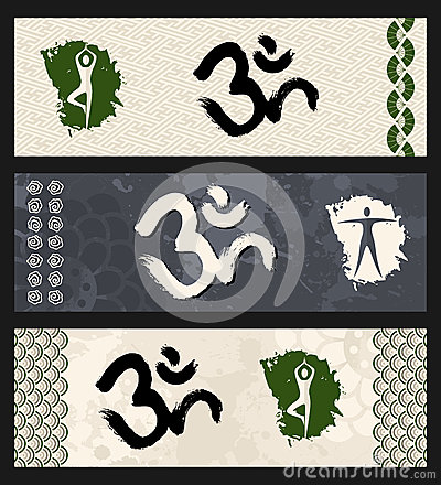Human shape workout Om symbol yoga illustration.
