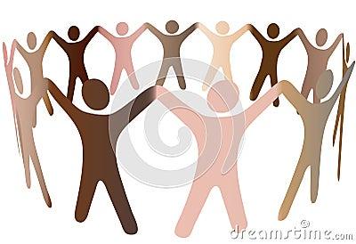 Human skintones blend in ring of diverse people