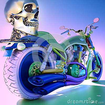 Human skleton on motorbike