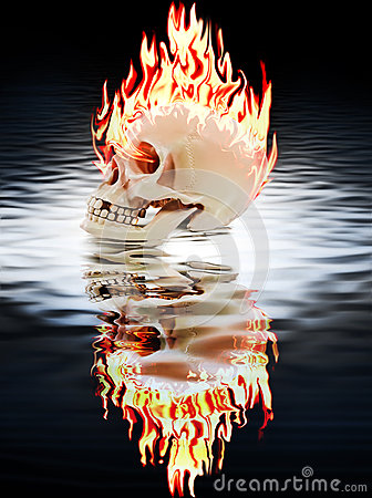 The human skull burning in the fire