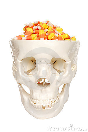 Human skull filled with candy corn