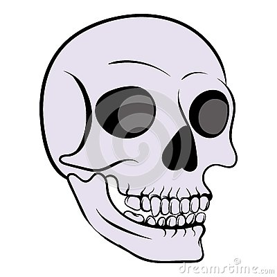 Human skull icon, icon cartoon Vector Illustration